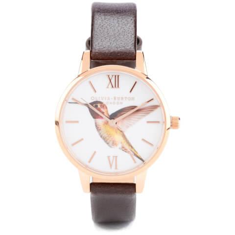 Olivia Burton Woodland Hummingbird Watch - Chocolate and Rose Gold