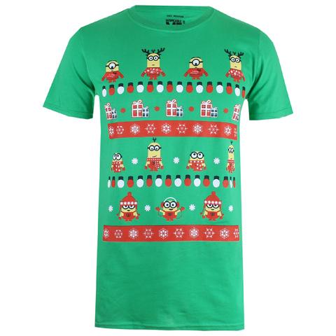 Despicable Me Men's Christmas Pattern T-Shirt - Irish Green