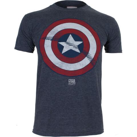 Marvel Boys' Captain America Shield T-Shirt - Heather Navy