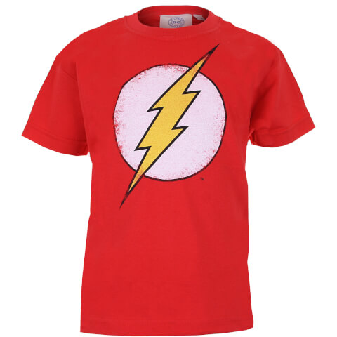 DC Comics Boys' The Flash Distress Logo T-Shirt - Red