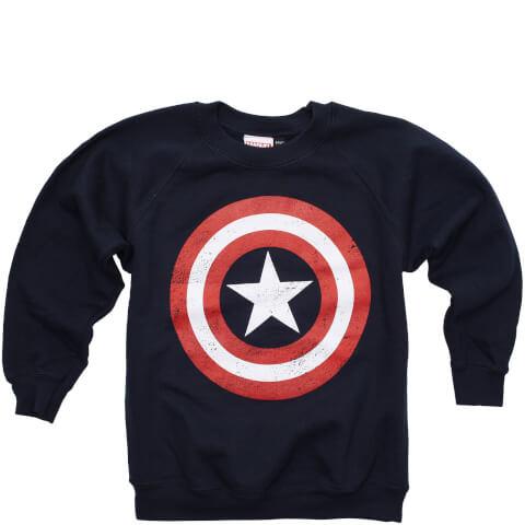 Marvel Boys' Captain America Distress Shield Sweatshirt - Navy