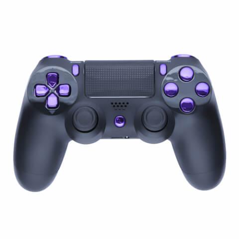 Playstation 4 Custom Controller - Matte Black & Chrome Purple