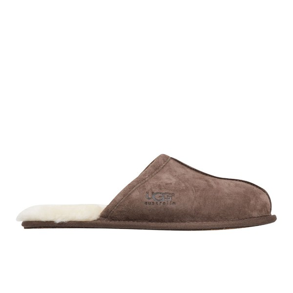 UGG Men's Scuff Leather Sheepskin Slippers - Espresso