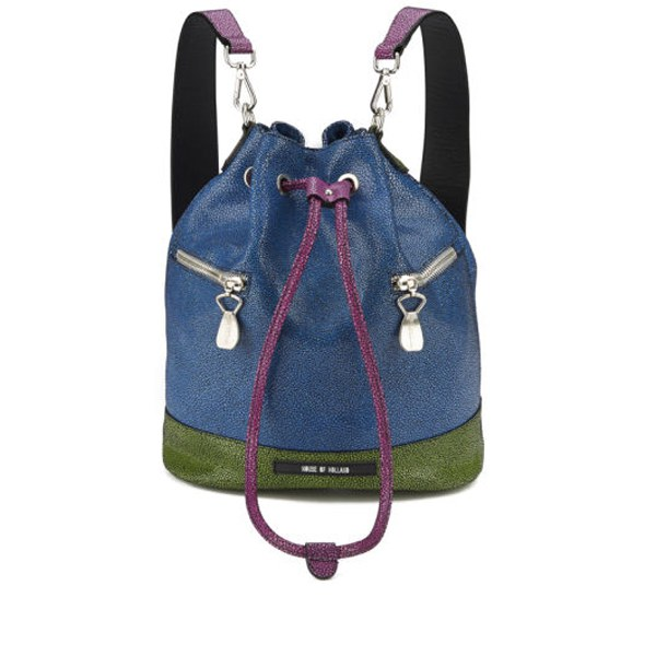 House of Holland Bucket Leather Bag - Pink/Blue