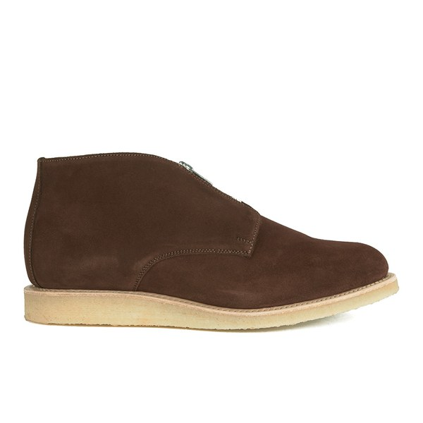 YMC Men's Crepe Sole Zip Front Suede Chukka Boots - Brown