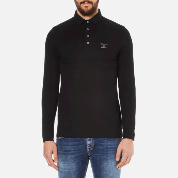 Barbour Men's Standards Long Sleeve Embroidered Polo Shirt - Black