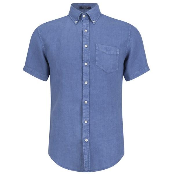 Gant men 39 s linen short sleeve shirt blue mens clothing for Mens short sleeve linen dress shirts