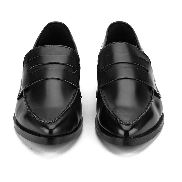 Steve Madden Women's Lindie Pointed Leather Penny Loafers - Black: Image 31
