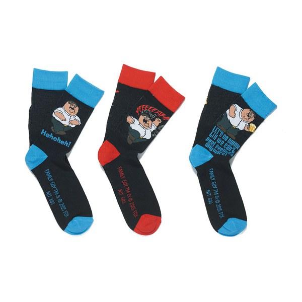 Family Guy Men's 3 Pack Socks - Black/Blue