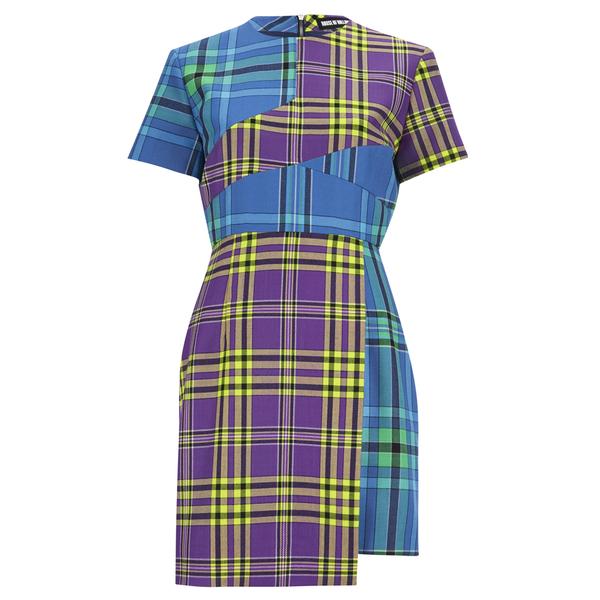 House of Holland Women's Cross Over Tartan Dress - Blue/Purple/Tartan