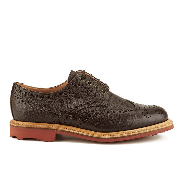 Sanders Men's Jude Grain Leather Brogues - Dark Brown