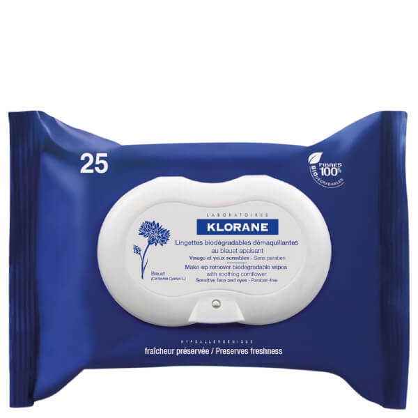 KLORANE Soothing Biodegradable Make-Up Removal Wipes with Cornflower (25)