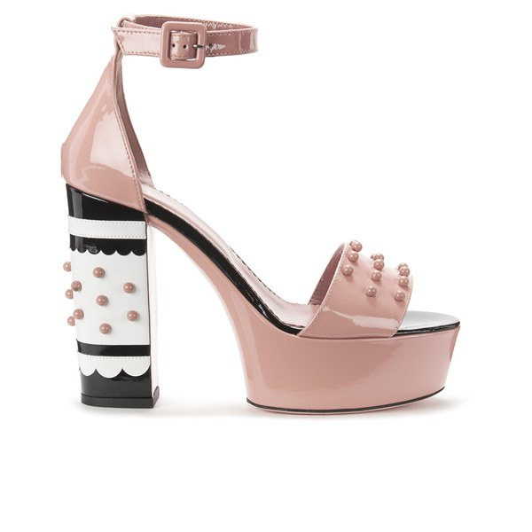 REDValentino Women's Studded Heeled Sandals - Nude
