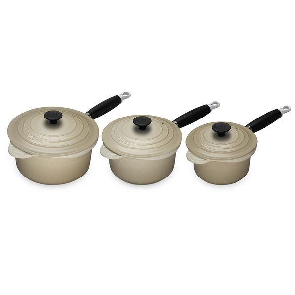le creuset cast iron 3 piece saucepan set almond free. Black Bedroom Furniture Sets. Home Design Ideas