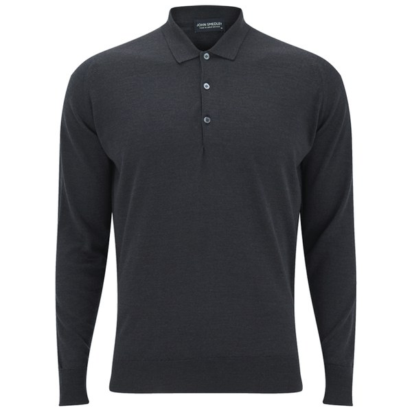 John smedley mens cotswold merino wool long sleeve polo for Merino wool shirts for travel