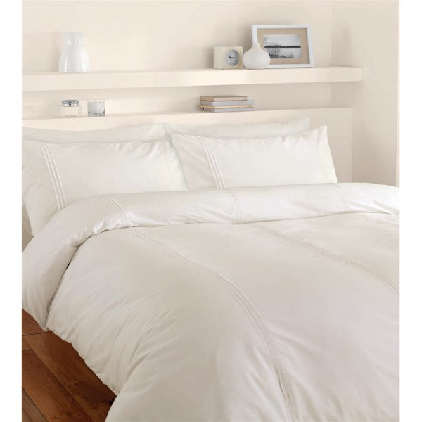 Catherine lansfield minimalist duvet set cream homeware for Minimalist bed sheets