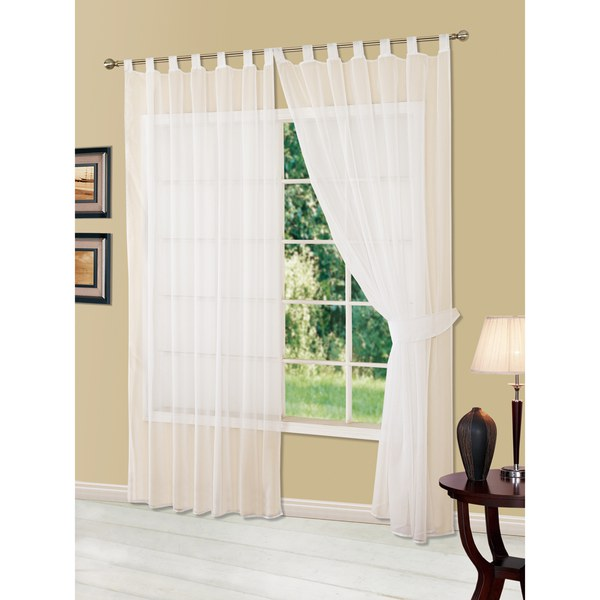 Dreamscene voile tab top panel curtains white iwoot