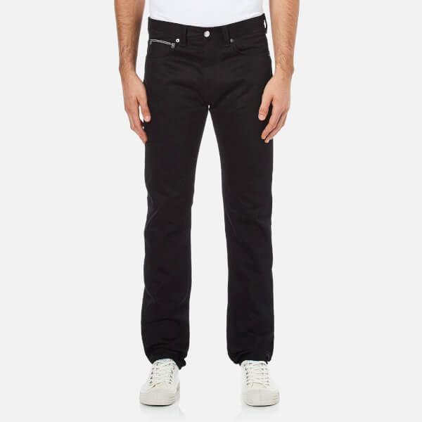 Edwin Men's ED80 Slim Tapered White Listed Selvedge Denim Jeans - Black