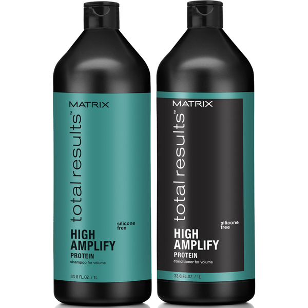 Champú (1000 ml), Acondicionador (1000 ml) y Elevador de raíces  (250 ml) Matrix Total Results High Amplify