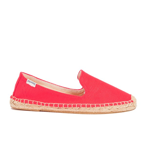 Soludos Women's Linen Espadrille Smoking Slippers - Linen Coral