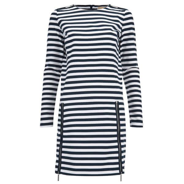 MICHAEL MICHAEL KORS Women's Zip Detail Stripe Dress - New Navy/White