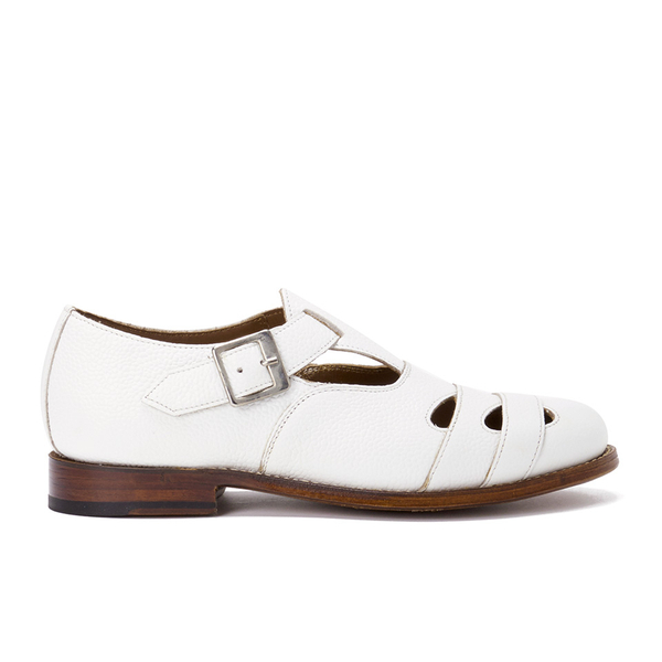 Grenson Women's Briony Grain Leather Cut-Out Buckle Flats - White