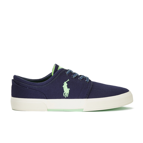 Polo Ralph Lauren Men's Faxon Canvas Trainers - Newport Navy/ Ultra Lime