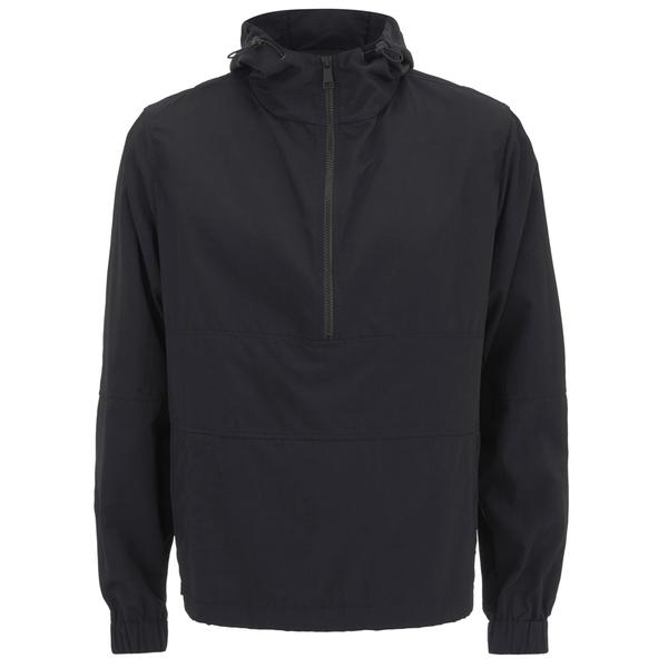 AMI Men's Hooded Half Zipped Jacket - Black