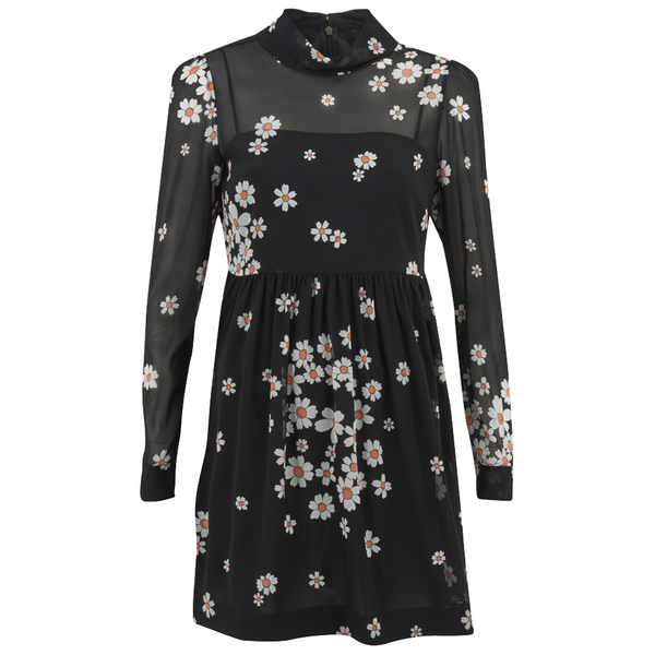 REDValentino Women's Daisy Print High Neck Dress - Black