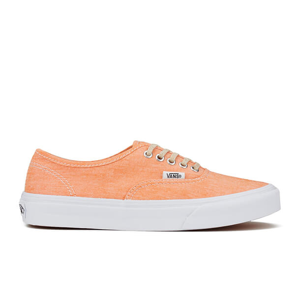 Vans Women's Authentic Slim Chambray Trainers - Coral/True White