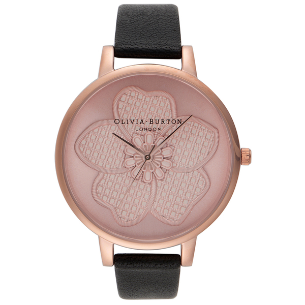 Olivia Burton Women's Enchanted Garden 3D Flower Watch - Black/Rose Gold
