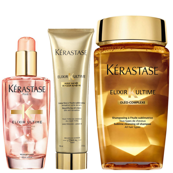 Kérastase Elixir Ultime Huile Lavante Bain 250ml, Crème Fine 150ml and Coloured Hair Oil 100ml Bundle