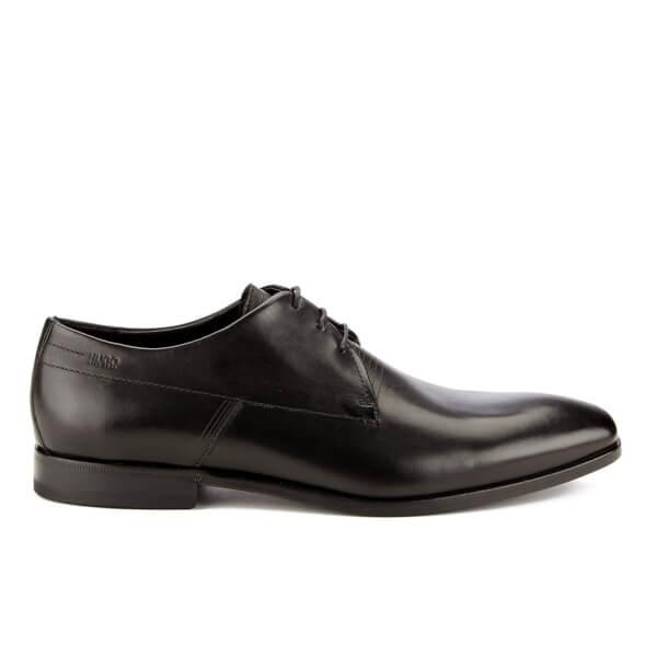 HUGO Men's Square Laser Detail Leather Derby Shoes - Black