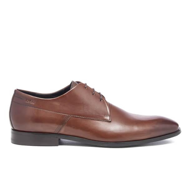 HUGO Men's Square Laser Detail Leather Derby Shoes - Medium Brown
