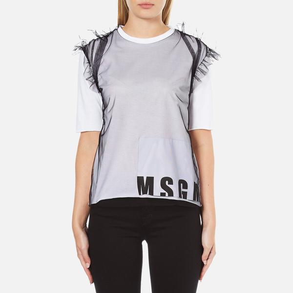 MSGM Women's Net Logo T-Shirt - White