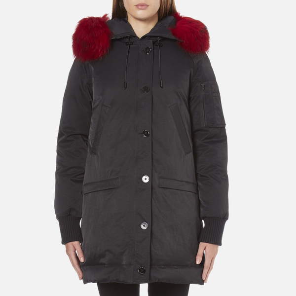 KENZO Women's Removable Red Fur Lined Long Parka - Black
