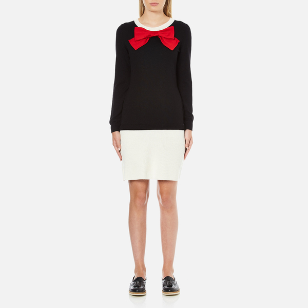 Boutique Moschino Women's Red Bow Jumper Dress - Black