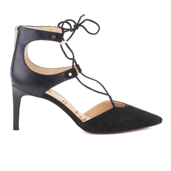 Sam Edelman Women's Taylor Leather/Suede Lace Up Court Shoes - Black
