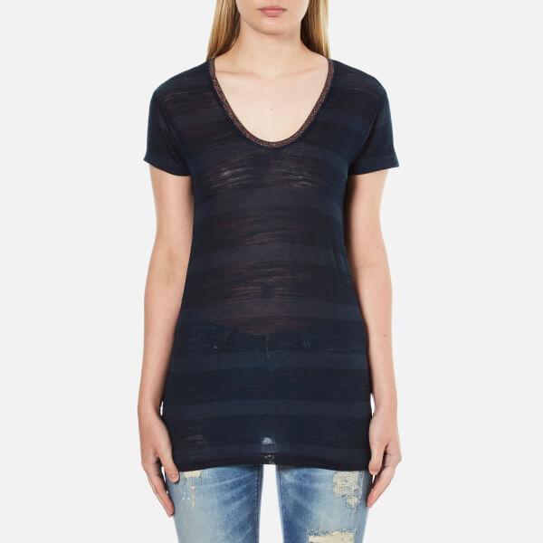 Maison Scotch Women's Delicate Striped V-Neck T-Shirt - Blue