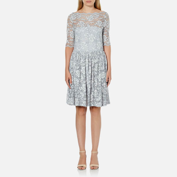 Ganni Women's Ayame Lace Dress - Pearl Blue