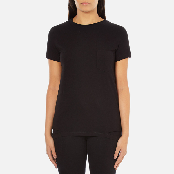 Helmut Lang Women's Medium Weight Cotton Jersey Slash Hem T-Shirt - Black