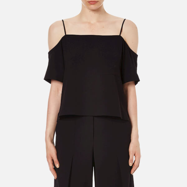 T by Alexander Wang Women's Poly Crepe off the Shoulder Top with Self Straps - Black