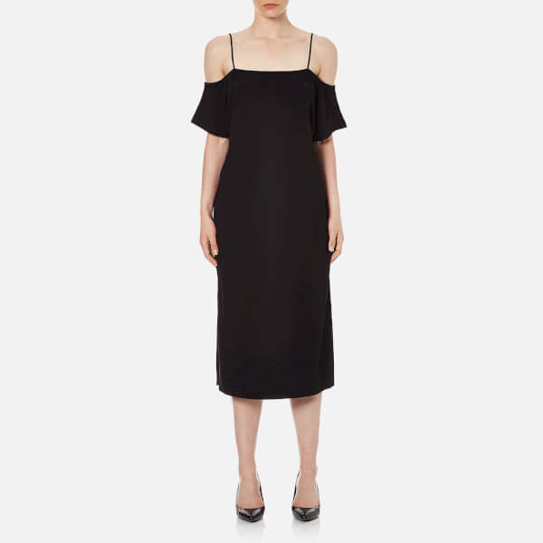 T by Alexander Wang Women's Poly Crepe off the Shoulder Dress with Self Straps - Black