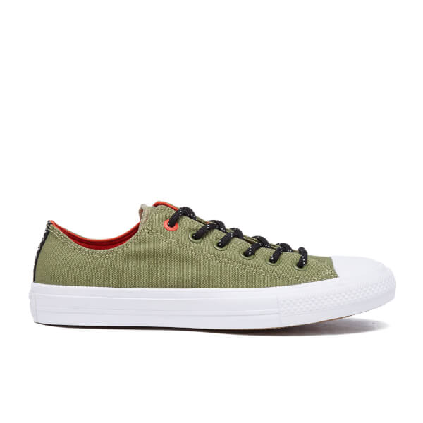 Converse Men's Chuck Taylor All Star II Shield Canvas Low Top Trainers - Fatigue Green/Signal Red
