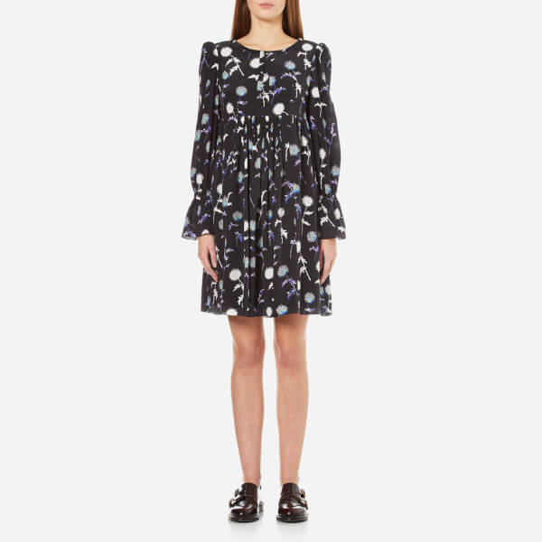 KENZO Women's Dandelion Smock Dress with Flared Sleeves - Black