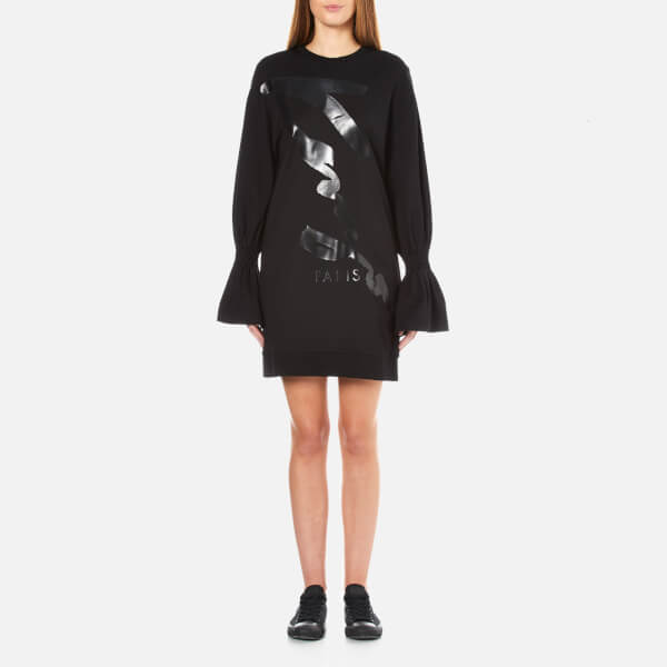 KENZO Women's Logo Sweatshirt Dress with Flared Sleeves - Black