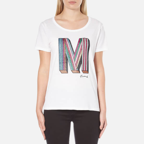 Maison Scotch Women's Crew Neck Clubhouse T-Shirt With M Embellishment - White