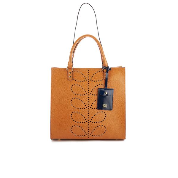 Orla Kiely Women's Willow Box Leather Tote Bag - Tan