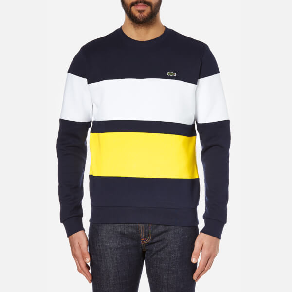Lacoste Men's Stripe Sweatshirt - Navy/White