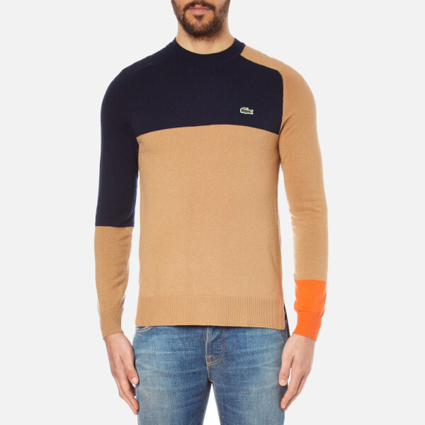 Lacoste L!ve Men's Printed Sweatshirt - Arid Beige/Navy Blue/Orange